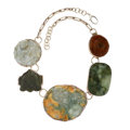 Estate Jewelry:Necklaces, Nephrite Jade, Sterling Silver Necklace, Rebecca Collins. ...