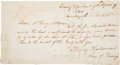 Autographs:Statesmen, Bailey Hardeman Manuscript Draft Signed as Secretary of theTreasury In the Amount of Five Thousand Dollars. ...