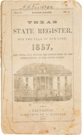 Books:Americana & American History, [Texas Almanac]. Texas State Register for the Year of Our Lord,1857, and Until July Fourth, the Eighty-First of the Ind...