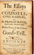 Books:Philosophy, Francis Bacon. The Essays or Counsels, Civil & Moral...Whereunto Is Added the Wisdom of the Ancients. London: J...
