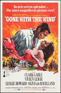 """Gone with the Wind (MGM, R-1970). One Sheet (27"""" X 41""""). Academy Award Winners"""