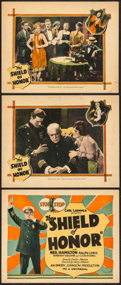 """The Shield of Honor (Universal, 1927). Title Lobby Card and Lobby Cards (2) (11"""" X 14""""). Crime. ... (Total: 3..."""