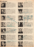 "Movie/TV Memorabilia:Autographs and Signed Items, A ""Who's Who in Hollywood"" Magazine Signed by an Impressive Numberof A-List Movie Stars, 1949...."