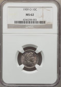 Barber Dimes: , 1909-O 10C MS62 NGC. NGC Census: (9/63). PCGS Population (23/80).Mintage: 2,287,000. Numismedia Wsl. Price for problem fre...