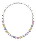 Estate Jewelry:Necklaces, Multi-Color Sapphire, Diamond, White Gold Necklace. ...