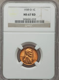 Lincoln Cents: , 1939-D 1C MS67 Red NGC. NGC Census: (552/1). PCGS Population (429/8). Mintage: 15,160,000. Numismedia Wsl. Price for proble...