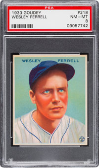 1933 Goudey Wesley Ferrell #218 PSA NM-MT 8 - None Higher!
