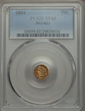 California Fractional Gold , 1854 50C Liberty Round 50 Cents, BG-423, High R.6, XF45 PCGS. PCGSPopulation (1/12). NGC Census: (0/1). ...