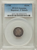 Early Half Dimes: , 1795 H10C -- Repaired -- PCGS Genuine. Fine Details. NGC Census:(10/298). PCGS Population (15/513). Mintage: 78,600. Numis...