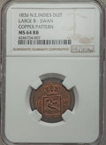 Netherlands East Indies, Netherlands East Indies: Colonial copper Swan Duit Pattern 1836MS64 Red and Brown NGC, ...
