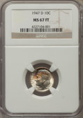 Roosevelt Dimes, 1947-D 10C MS67 Full Bands NGC. NGC Census: (26/0). PCGS Population (34/1). Mintage: 46,835,000. Numismedia Wsl. Price for ...