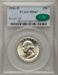 Washington Quarters, 1941-D 25C MS67 PCGS. CAC. PCGS Population (38/1). NGC Census:(103/1). Mintage: 16,714,800. Numismedia Wsl. Price for prob...