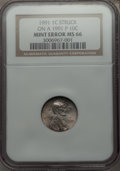 Errors, 1991 1C Lincoln Cent -- Struck on a 1991-P 10C -- MS66 NGC....