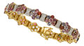 Estate Jewelry:Bracelets, Multi-Color Spinel, Diamond, Gold Bracelet. ...