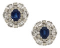 Estate Jewelry:Earrings, Sapphire, Diamond, White Gold Earrings. ...