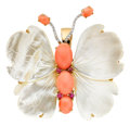 Estate Jewelry:Brooches - Pins, Coral, Ruby, Diamond, Mother-of-Pearl, Gold Pendant-Brooch. ...