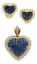 Estate Jewelry:Suites, Sapphire, Diamond, Gold Jewelry Suite. ... (Total: 3 Items)