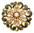 Estate Jewelry:Brooches - Pins, Diamond, Enamel, Gold Pendant-Brooch. ...