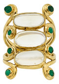 Estate Jewelry:Rings, Moonstone, Emerald, Gold Ring. ...