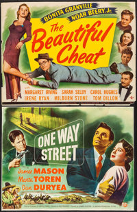 "One Way Street & Other Lot (Universal International, 1950). Trimmed Half Sheets (2) (20"" X 25.5"" & 20..."