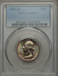 Washington Quarters, 1962-D 25C MS66+ PCGS. PCGS Population (209/8 and 11/1+). NGCCensus: (246/23 and 2/0+). Mintage: 127,554,752. Numismedia W...