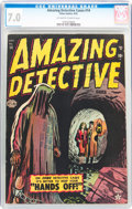 Golden Age (1938-1955):Horror, Amazing Detective Cases #14 (Atlas, 1952) CGC FN/VF 7.0 Off-whiteto white pages....