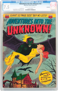 Adventures Into The Unknown #23 Bethlehem pedigree (ACG, 1951) CGC VF- 7.5 Cream to off-white pages