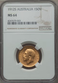 Australia, Australia: George V gold Sovereign 1912-S MS64 NGC, ...