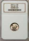Mercury Dimes: , 1945-D 10C MS67 Full Bands NGC. NGC Census: (339/12). PCGS Population (282/4). Mintage: 40,245,000. Numismedia Wsl. Price f...