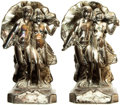 Books:Furniture & Accessories, [Bookends]. Pair of Matching Metal Bookends Depicting RunningCouple. Unsigned, undated.... (Total: 2 Items)