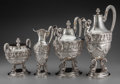 Silver Holloware, Continental:Holloware, A Four-Piece Continental Silver Figural Tea and Coffee Service,late 19th century. Marks: (effaced mark), STERLING. 13 i...(Total: 4 Items)
