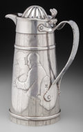Silver Holloware, American:Ewers and Basins, A Gorham Silver Barrel-Form Lidded Ewer, Providence, Rhode Island,circa 1886. Marks: (lion-anchor-G), STERLING, (maltes...