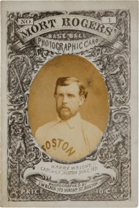 1872 Mort Rogers Boston Red Stockings vs. Baltimore Canaries Photographic Scorecard #1 Picturing Harry Wright