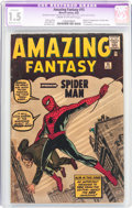 Silver Age (1956-1969):Superhero, Amazing Fantasy #15 (Marvel, 1962) CGC Apparent FR/GD 1.5 Moderate(C-3) Cream to off-white pages....