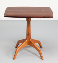A John Nyquist Indonesian Rosewood and English Elm Pedestal Table, circa 1960 Incised JN to the undersi