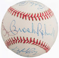 Baseball Collectibles:Balls, Baseball Greats Multi Signed Baseball (14 Signatures) - Signed at1991 HOF Induction....