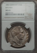 German States:Bavaria, German States: Bavaria. Maximilian II 2 Gulden 1853 MS63 NGC,...