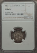 German East Africa, German East Africa: German Colony. Wilhelm II 1/4 Rupie 1891 MS63 NGC,...
