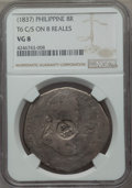 Philippines: Isabella II of Spain Counterstamped 8 Reales ND (1837) VG8 NGC