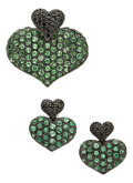 Estate Jewelry:Suites, Tsavorite Garnet, Colored Diamond, White Gold Jewelry Suite. ...(Total: 3 Items)