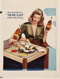 "Big Sleep with Lauren Bacall (Warner Brothers, 1946). Printer's Proof RC Cola Poster (26"" X 34"")"