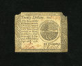 Colonial Notes:Continental Congress Issues, Continental Currency September 26, 1778 $20 Very Fine. The removalfrom an old mounting probably cost this note its two uppe...