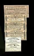 Confederate Notes:Group Lots, Six Confederate Bond Coupons. All six coupons are different andinclude a $3 (2), $4, $15, $30, and $40 coupon. Ink erosion ...(Total: 6 items)
