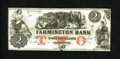 Obsoletes By State:New Hampshire, Farmington, NH- Farmington Bank $2 Dec. 4, 18__. A small notch is missing from bottom center. Crisp Uncirculated....