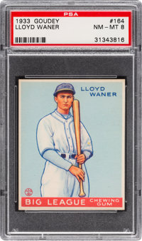 1933 Goudey Lloyd Waner #164 PSA NM-MT 8 - Only Two Graded Higher