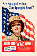 "Movie Posters:War, World War II Propaganda (U.S. Government Printing Office, 1943).Poster (25"" X 38"") ""Join the WAC Now!"". ..."