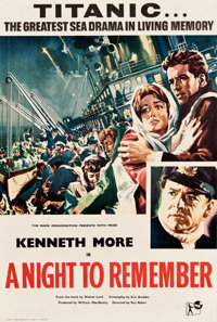 "A Night to Remember (Rank, 1959). Full-Bleed British One Sheet (27"" X 40"")"
