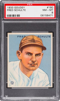 1933 Goudey Fred Schulte #190 PSA NM-MT 8 - None Higher