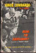 """Football Collectibles:Publications, 1963 Vince Lombardi Signed """"Run to Daylight!"""" Hardcover Book - Personalized to Tight End Ron Kramer. ..."""