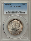 Kennedy Half Dollars, 1964-D 50C MS66+ PCGS. PCGS Population (597/42). NGC Census:(343/11). Mintage: 156,205,440. Numismedia Wsl. Price for prob...